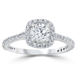 Platinum 1 1/5ct TDW Cushion Halo Round Diamond Engagement Ring (G/H, I1-I2)