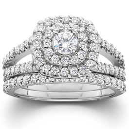 1 1/10ct Diamond Cushion Halo Engagement Wedding Ring Set Platinum (H/I, I1-I2)