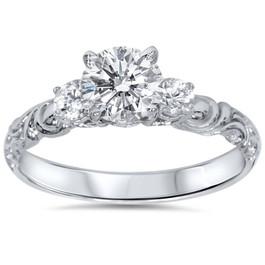 3/4ct Vintage 3 Stone Diamond Engagement Ring 14K White Gold (G/H, I1)
