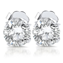 1.10ct Diamond Studs 14k White Gold Clarity Enhanced (E, SI(2)-I(1))