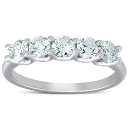1 Ct Five Stone EX3 Lab Grown Diamond Wedding Ring 14k White Gold EX3 Lab Grown (((G-H)), SI(2)-I(1))