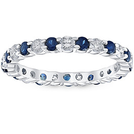 1 cttw Blue Sapphire Diamond Wedding Eternity Ring 14k White Gold (G/H, I1-I2)