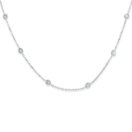 "1 1/2 Ctw Diamond Bezel Station Necklace 14K White Gold 18"" (G-H, SI)"