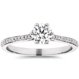 Eco Friendly 5/8ct Lab Created Diamond Engagement Ring 14K White Gold (F, VS)