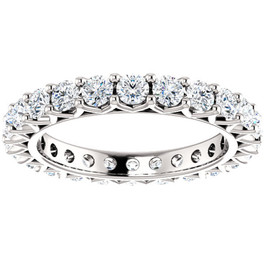 2 Ct Diamond Eternity Ring 14k White Gold Womens Stackable Wedding Band (G/H, I1-I2)