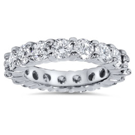 4Ct Diamond Platinum Eternity Ring Womens Wedding Stackable Band (G/H, I1-I2)