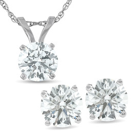 2 Cttw Diamond Solitaire Necklace & Studs Earrings Set 14K White Gold (I-J, I2-I3)