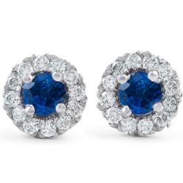 1ct Halo Blue Sapphire Round Cut Diamond Studs 14k White Gold (J-K, I2-I3)