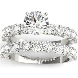 2 1/2 Ct Diamond Round Cut Engagement Ring Matching Wedding Band 14k White Gold (H/I, I1-I2)