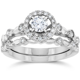 1/2CT Halo Diamond Engagement Wedding Ring Set 14K White Gold (H/I, I1)