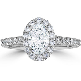 Platinum 1 1/2 Ct Oval Diamond Halo Engagement Ring ((G-H), SI(1)-SI(2))