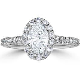 Platinum 1 1/2 Ct Oval Diamond Halo Engagement Ring ((G-H), SI(1)-SI(2))
