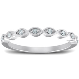 Diamond Wedding Ring Womens Stackable 10k White Gold Anniversary Band (G/H, I1-I2)
