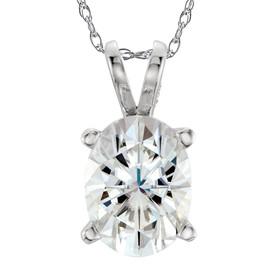 1 Ct Oval Diamond Solitaire Pendant 14k White Gold (H, SI)