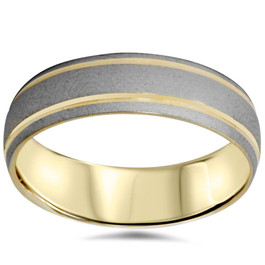 Mens 6mm 14K Gold Two Tone Brushed Wedding Band