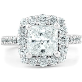 2 1/2 Ct Princess Cut Halo Diamond Engagement Ring 14k White Gold (G, SI2-I1)
