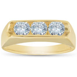 3/4 Ct Diamond Three Stone Mens Wedding 3 Round Jewelry Ring 10k Yellow Gold (H, I1)
