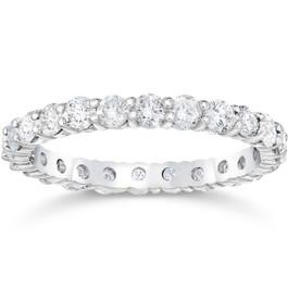1 1/2 Ct Diamond Eternity Wedding Ring 14k White Gold (I/J, I1-I2)