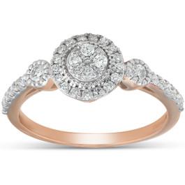 1/2 Ct Diamond Round Halo Vintage Engagement Ring 10k Rose Gold (H, I1-I2)