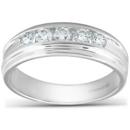 1/2 Ct Diamond Mens Wedding Ring 10k White Gold (H, I1-I2)