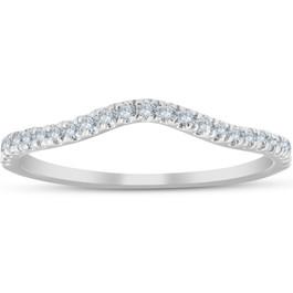 1/4 Ct Curved Diamond Guard Enhancer Wedding Ring 10k White Gold (H, I1-I2)