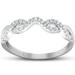 Countour Infinity Diamond Guard Engagement Wedding Ring Enhancer 10k White Gold (H, I1-I2)