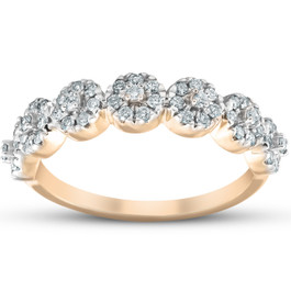 1/2Ct Diamond Halo Anniversary Stackable Diamond Wedding Ring 10k Yellow Gold (H, I1-I2)