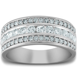 1 Ct Diamond Three Row Womens Anniversary Wide Wedding Ring 10k White Gold (H, I1-I2)