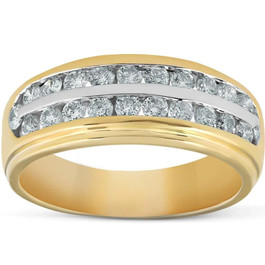 1 Ct Diamond Mens Double Row Wedding Ring 10k Yellow Gold (H, I1-I2)