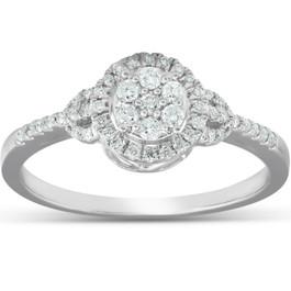 1/4Ct Halo Diamond Engagement Ring 10k White Gold (H/I, I1-I2)