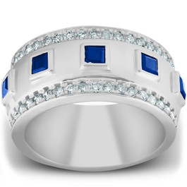 2 1/4 Ct Princess Cut Blue Sapphire & Diamond Wedding Ring 10k White Gold (H, I1-I2)