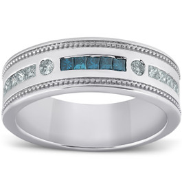 1/2 Ct Mens Blue Diamond Princess Cut Wedding Ring 10k White Gold (H, I1-I2)