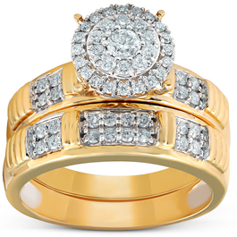 3/4 Ct Halo Diamond Engagement Wedding Ring Set 10k Yellow Gold (H/I, I1-I2)