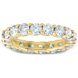 3Ct Diamond U Prong Eternity Ring Wedding Anniversary Band 14k Yellow Gold (H/I, I1-I2)