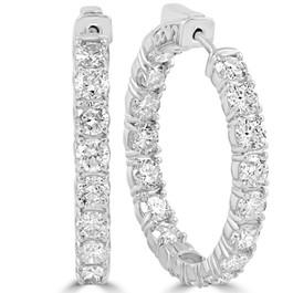 6.13 cttw Diamond Inside Outside Vault Lock Hoops 14k White Gold 30mm Tall (F, VS)