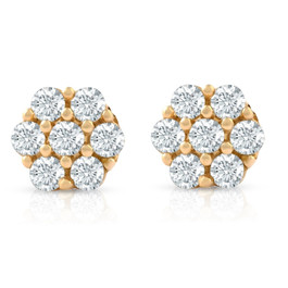 3/8 Ct. Diamond Earrings Womens Studs 10k Yellow Gold (G-H, I1-I2)