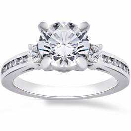 2 1/4 Ct Round Enhanced Diamond Engagement Ring 14K White Gold (F, SI(1)-SI(2))