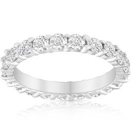 2 Ct Lab Created Diamond Eternity Ring Womens Wedding Band 14k White Gold ((I-J), SI(1)-SI(2))