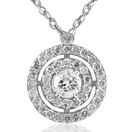 3/4ct Diamond Double Circle Of Life Eternity Pendant 14K White Gold (I, I1)