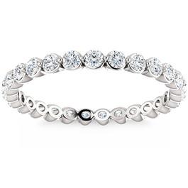 3/4 Ct Diamond Single Prong Eternity Ring Wedding Stackable Band 14k White Gold (H/I, I1-I2)