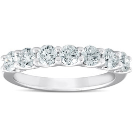 1 Ct Diamond Wedding Ring 7-Stone U Prong Anniversary Band 14k White Gold (H/I, I1-I2)