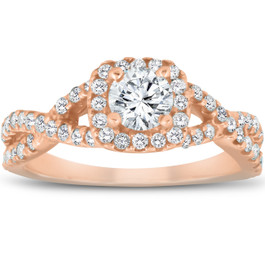 1 Ct Diamond Cushion Halo Engagement Ring 14k Rose Gold (G/H, I1-I2)