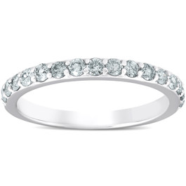 1/2 Ct Diamond Wedding Ring 14k White Gold Womens Anniversary Band (H/I, I1-I2)