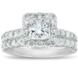 2 1/2 Ct Halo Princess Cut Diamond Engagement Wedding Ring Set 14k White Gold (G/H, SI1-SI2)