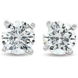 1.25 ct Solitaire Diamond Stud 4 Prong Earrings 14K White Gold Enhanced ((F), SI(1)-SI(2))