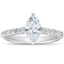 1 1/3 ct TDW Marquise Diamond Engagement Ring Side Stones (G/H, I1-I2)