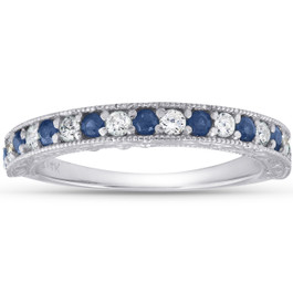 1/2Ct Blue Sapphire & Diamond Wedding Ring Anniversary Stackable Band White Gold (H/I, I1-I2)