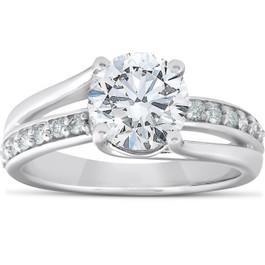 2 1/4 Ct Round Diamond Engagement Twist Ring 14k White Gold (G/H, SI2-I1)