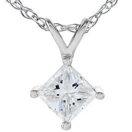 1/2 Ct Princess Cut Solitaire Diamond Pendant 14K White Gold Enhanced (G/H, SI)