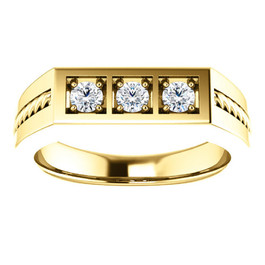 10k Gold 1/2 Ct 3-Stone Mens Braided Heavy Weight Ring Wedding Band (H/I, I1-I2)